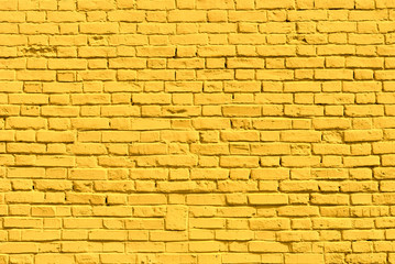 Yellow brick wall, copy space, brick texture, background