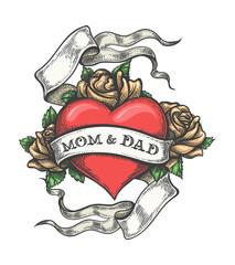 Hand Drawn Mom and Dad Tattoo. Vector Illustration