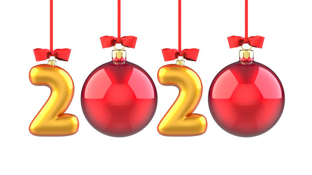Happy New Year 2020 banner with red ribbon and bow. Text 2020 made in the form of a golden and red Christmas ball. 3D rendering illustration isolated on white background.