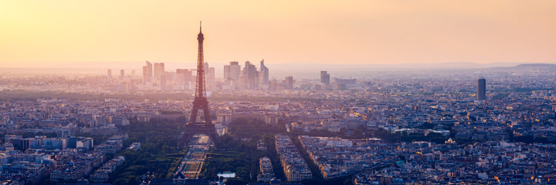 High resolution aerial panorama of Paris, France taken from the Notre Dame Cathedral before the destructive fire of 15.04.2019. The river Seine. Aerial view of Paris at sunset. Paris, France.