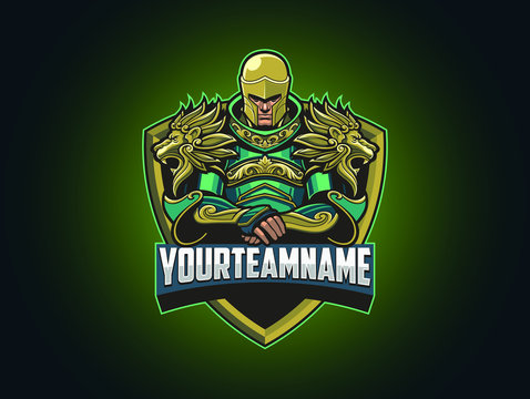 Esport logo template for Team Logo / badge, Frame, Character, and Writing can be separated