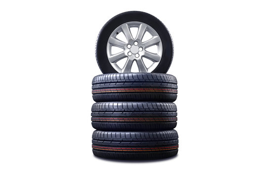 New tires pile isolated on white.