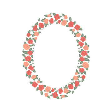 Oval frame of rose flowers isolated on white background. Vector illustration of cartoon style