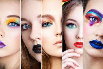 Wall Mural - Collage Faces of Woman With Fashion Creative Makeup. Art make up. Beauty model make-up.