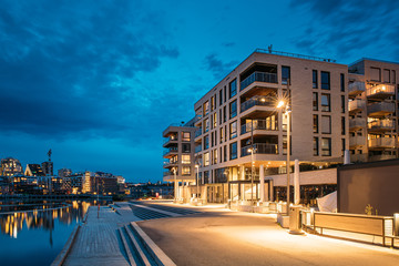 Oslo, Norway. Night View Embankment And Residential Multi-storey House On Sorengkaia Street In Gamle Oslo District. Residential Area In Summer Evening Fotomurales