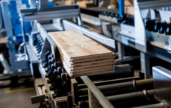 Production line of the wooden floor factory. CNC automatic woodworking machine.