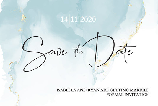 Save the date wedding invitation. Mable blue texture with blue ink anf gold foil texture. Boho branding, luxury presentation, rustic  pastel moden vector illustration