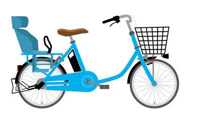 電動アシスト自転車のイラスト 水色|二人乗り・横向き|ママチャリ・実用自転車・ィバイク
