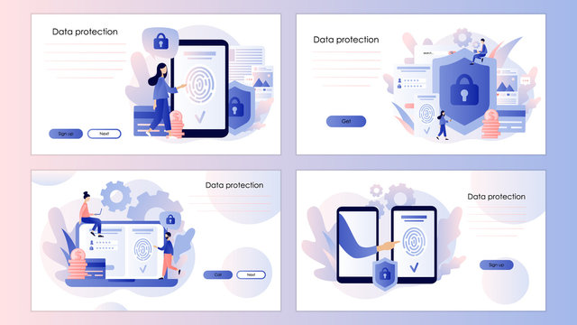 Data protection concept. Scan Fingerprint, Identification system. Screen template for mobile smart phone. Modern flat cartoon style. Vector illustration
