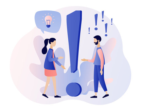 FAQ concept set. People around exclamations and question marks. Metaphor question answer. Modern flat cartoon style. Vector illustration