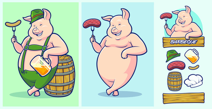 Oktoberfest Pig Mascot with extra elements for Barbeque and Steakhouse logo designs