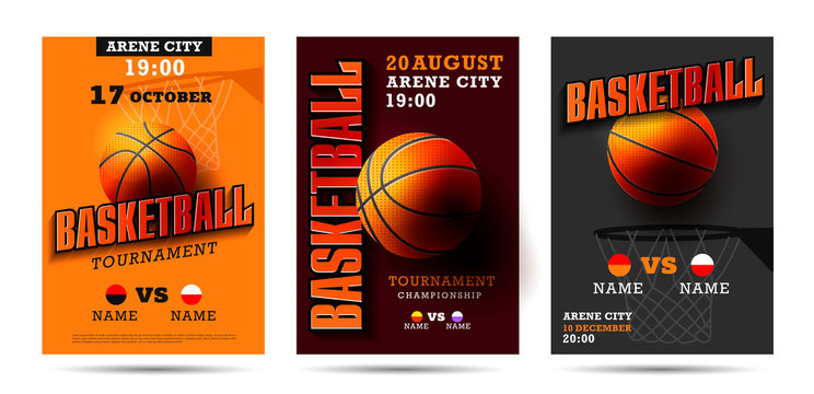 Set of basketball posters with basketball ball. Basketball Playoff advertising. Sport event announcement.