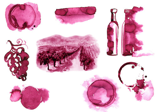 Red wine set isolated on white background. wine texture watercolor. vineyard