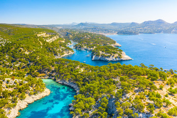 Panoramic view of Calanques National Park near Cassis fishing village, Provence, South France, Europe, Mediterranean sea Fototapete