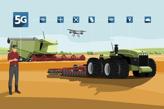 5G network for control autonomous agriculture machines. Smart farming 4.0