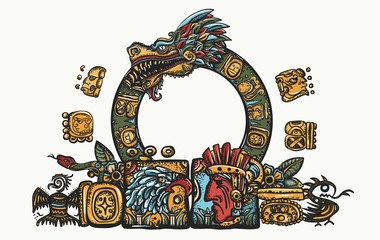 Kukulkan. Feathered Serpent and glyphs. Ancient Maya Civilization.  Quetzalcoatl. Mesoamerican mexico mythology. Color tattoo and t-shirt design. Chichen Itza statues