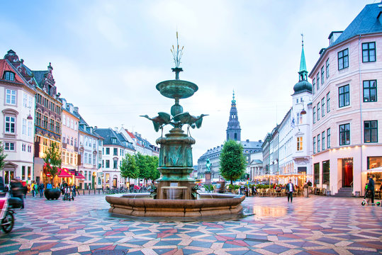 Stork Fountain on the Amagertorv (Amager Square) and the longest pedestrian street in the world Stroget in Copenhagen Copenhagen, Denmark.