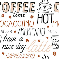 Estores personalizados para cocina con tu foto Coffee seamless pattern with lettering. Vector Sketch Illustration with hand written calligraphy. Text about different types of coffee. Americano, latte, cappuccino. Breakfast drinks theme