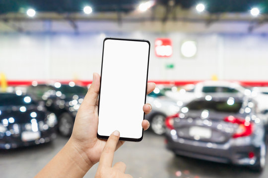 Mockup blank screen mobile phone for app or web site mockup promotion. Ideal for auto dealership, automobile service online, smart car concept, Car shopping online.