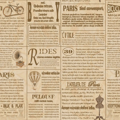 Old newspaper french seamless  background.