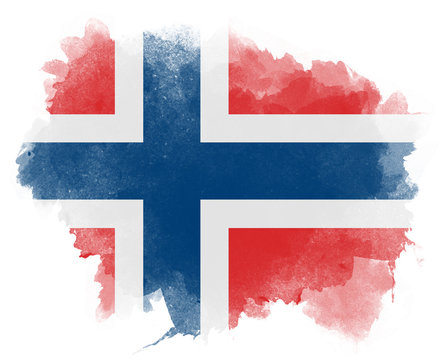 Norway watercolor flag