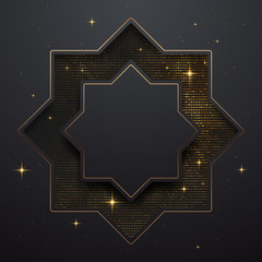 Black and gold frame template background