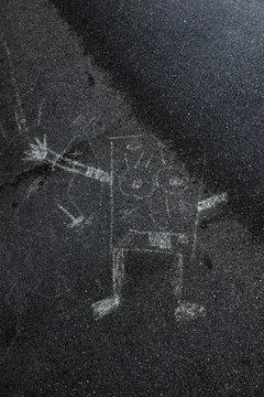 SpongeBob painted on the Street Asphalt