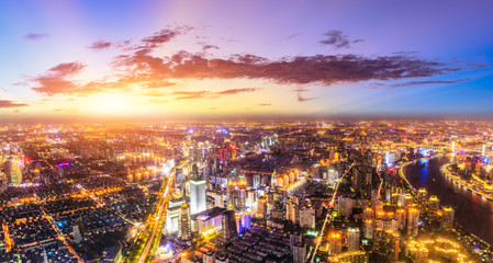 Poster Vegetal Aerial view and skyline of Shanghai cityscape