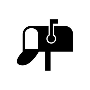 Mailbox icon. Silhouette symbol. Negative space. Vector isolated illustration