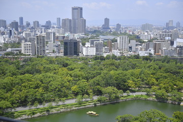 Printed roller blinds Xian Aerial view around Osaka castle shooting from a roof of Osaka Castle, Japan