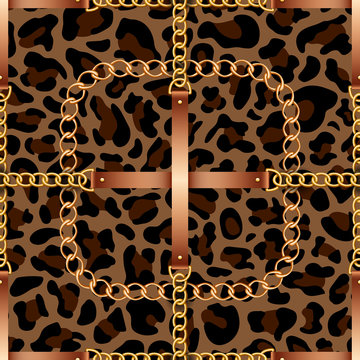 Seamless pattern with belts, chains and rope on leopard skin background