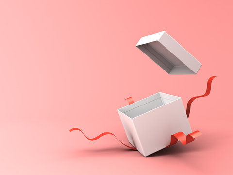 Blank open white gift box with red ribbons isolated on pink pastel color background with shadow 3D rendering
