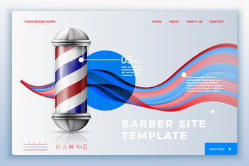 Vector realistic 3d barber site template with pole on bright modern background. Mock-up for product package branding.
