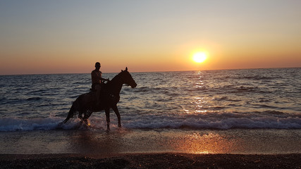 horse ridding in sunset time by the sea preveza greece