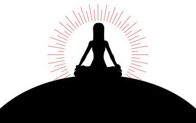 Woman sitting in lotus position on a hill, the sun's rays of the sun, silhouette art image, vector illustration isolated on white background