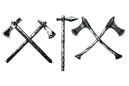 Battle viking ax vector illustration.
