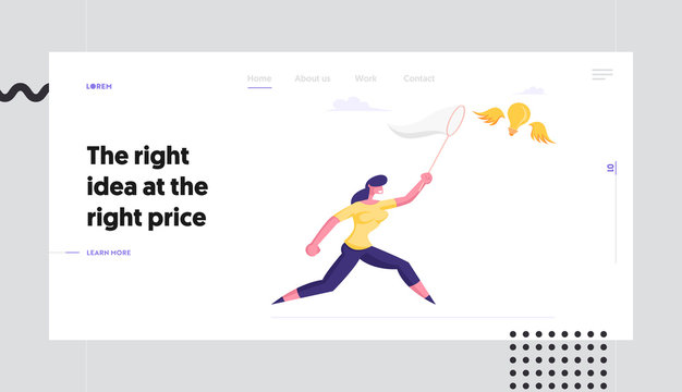 Creative Idea Website Landing Page. Businesswoman Trying to Catch Flying Light Bulb Chasing it with Butterfly Net. Business Woman Searching Inspiration Web Page Banner Cartoon Flat Vector Illustration