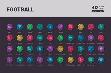 football concept 40 outline colorful round icons set