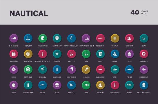 nautical concept 40 colorful round icons set