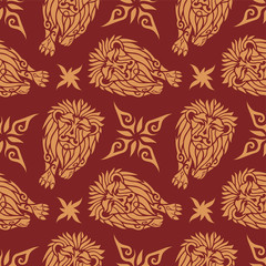Seamless pattern with cartoon lions and stars
