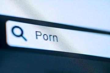 Fototapeta Search bar with typed Porn word obraz