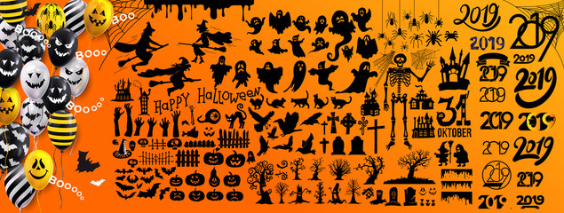 Set of halloween silhouettes 2019 black icon and character. Vector illustration. Isolated on yellow background. Fototapete