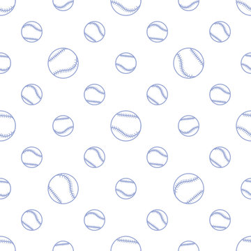 Vector sports seamless pattern with baseball balls