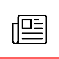 Newspaper icon in flat isolated on white background, news vector illustration for web site or mobile app