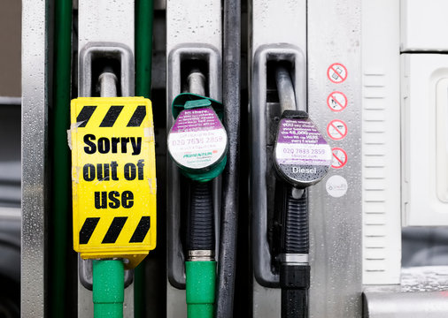 Fuel diesel shortage at petrol station pump with sorry out of order sign