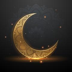 Eid mubarak golden light illustration background