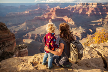 Mother with his boy in Grand canyon National Park