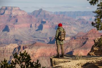 A hiker in the Grand Canyon National Park, South Rim, Arizona, USA. Wall mural