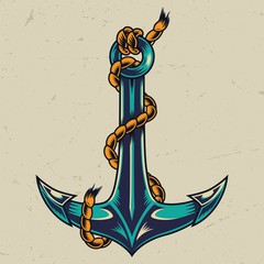 Vintage colorful metal anchor