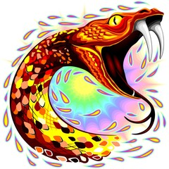 Poster Draw Snake Attack Psychedelic Art Vector Illustration